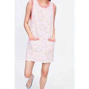 NWT White Pink ZARA DRESS Frayed Multi Trim Tweed